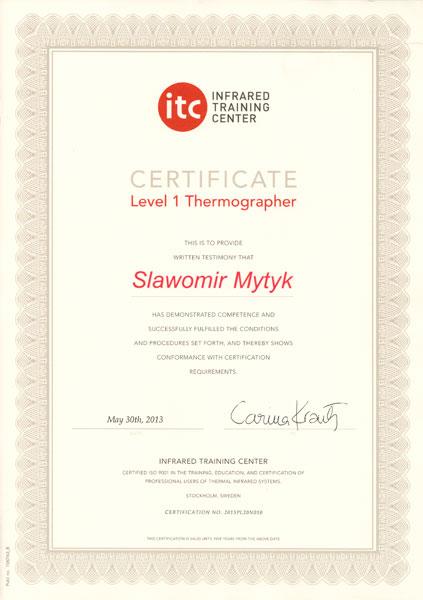 Certyfikat FLIR ITC LEVEL 1