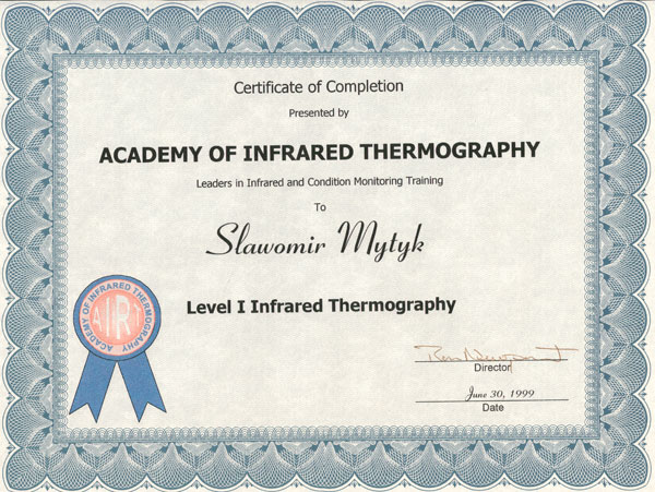 Certyfikat FLIR ITC LEVEL 1 - 1999